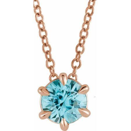 Genuine Zircon Necklace in 14 Karat Rose Gold Genuine Zircon Solitaire 16-18