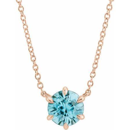 Genuine Zircon Necklace in 14 Karat Rose Gold Genuine Zircon Solitaire 16