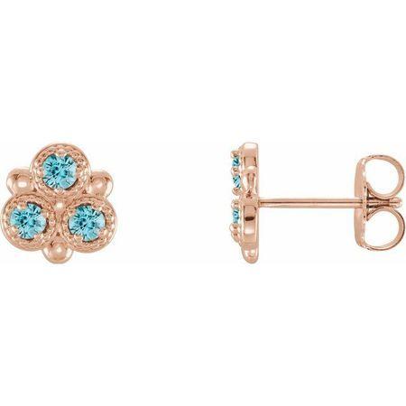 Genuine Zircon Earrings in 14 Karat Rose Gold Genuine Zircon Three-Stone Earrings