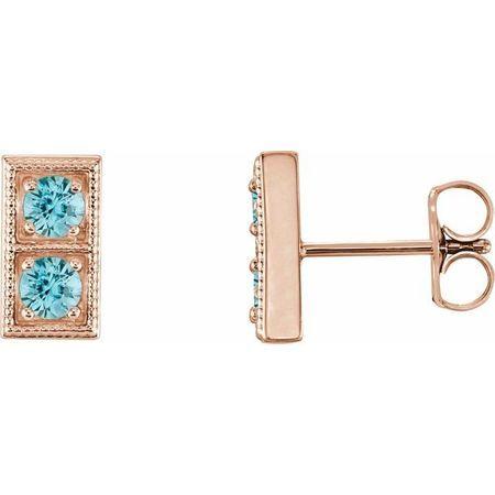 Genuine Zircon Earrings in 14 Karat Rose Gold Genuine ZirconTwo-Stone Earrings