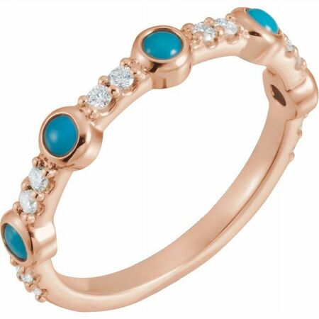 Genuine Turquoise Ring in 14 Karat Rose Gold Cabochon Turquoise & 0.2 Carat Diamond Ring