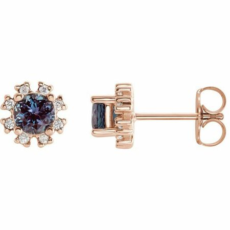 Diamond Earrings in 14 Karat Rose Gold Chatham Created Alexandrite & .07 Carat Diamond Earrings