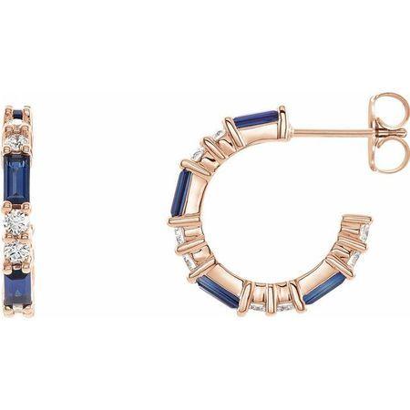 Created Sapphire Earrings in 14 Karat Rose Gold Chatham Created Genuine Sapphire & 1/2 Carat Diamond Earrings