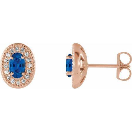 Created Sapphire Earrings in 14 Karat Rose Gold Chatham Created Genuine Sapphire & 1/5 Carat Diamond Halo-Style Earrings