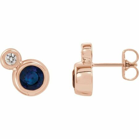 Created Sapphire Earrings in 14 Karat Rose Gold Chatham Created Genuine Sapphire & 1/8 Carat Diamond Earrings