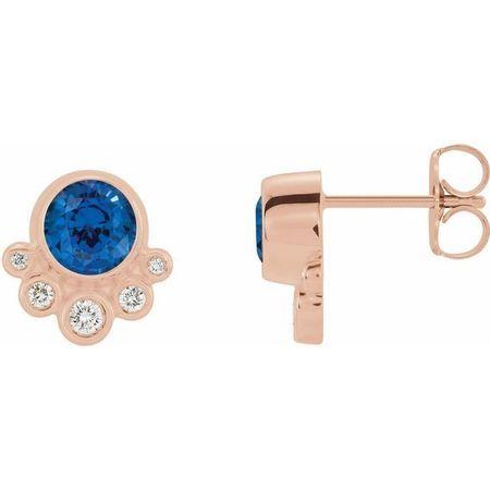 Created Sapphire Earrings in 14 Karat Rose Gold Chatham Created Genuine Sapphire & 1/8 Carat Diamond Earrings