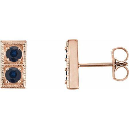Created Sapphire Earrings in 14 Karat Rose Gold Chatham Created Genuine SapphireTwo-Stone Earrings