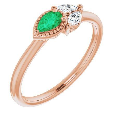 Genuine Emerald Ring in 14 Karat Rose Gold Chatham Created Emerald & 1/8 Carat Diamond Ring