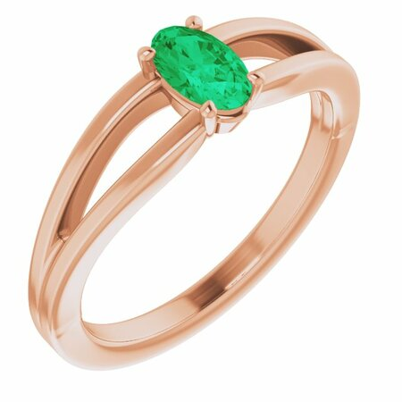 Genuine Emerald Ring in 14 Karat Rose Gold Chatham Created Emerald Solitaire Youth Ring