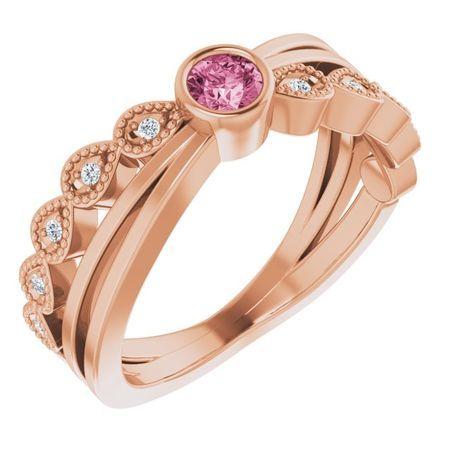 Pink Tourmaline Ring in 14 Karat Rose Gold Chatham Created Tourmaline & .05 Carat Diamond Ring