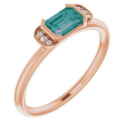 Chatham Created Alexandrite Ring in 14 Karat Rose Gold Chatham Lab-Created Alexandrite & .02 Carat Diamond Ring