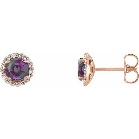 Genuine Chatham Created Alexandrite Earrings in 14 Karat Rose Gold Chatham Lab-Created Alexandrite & 1/8 Carat Diamond Earrings