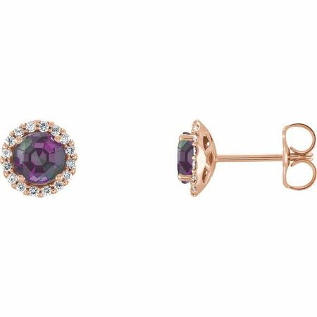 Genuine Alexandrite Earrings in 14 Karat Rose Gold Chatham Lab-Created Alexandrite & 1/8 Carat Diamond Earrings