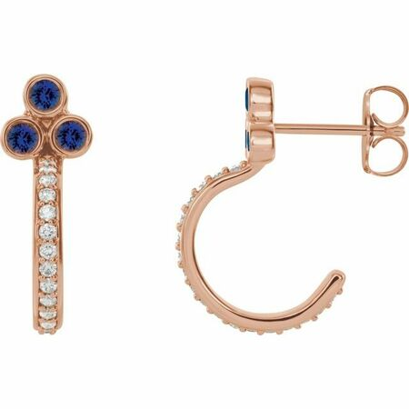 Created Sapphire Earrings in 14 Karat Rose Gold Chatham Lab-Created Genuine Sapphire & 1/4 Carat Diamond J-Hoop Earrings