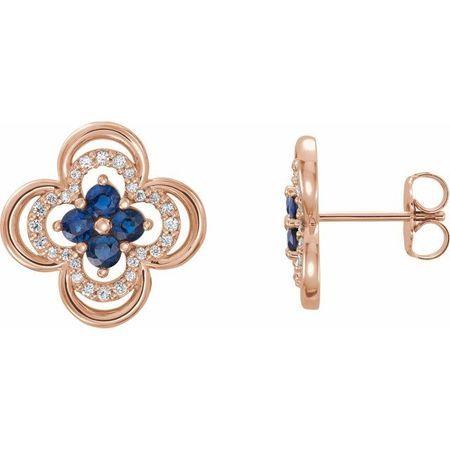 Created Sapphire Earrings in 14 Karat Rose Gold Chatham Lab-Created Genuine Sapphire & 1/5 Carat Diamond Clover Earrings