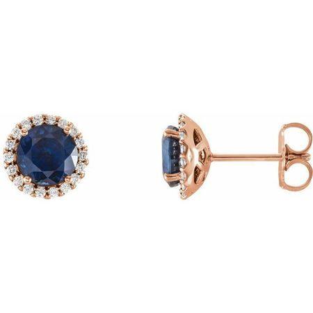 Created Sapphire Earrings in 14 Karat Rose Gold Chatham Lab-Created Genuine Sapphire & 1/5 Carat Diamond Earrings