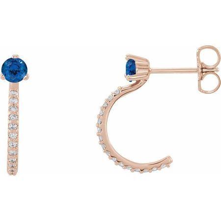 Created Sapphire Earrings in 14 Karat Rose Gold Chatham Lab-Created Genuine Sapphire & 1/6 Carat Diamond Hoop Earrings