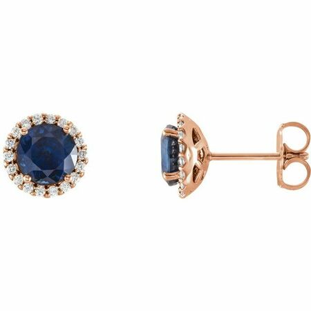 Created Sapphire Earrings in 14 Karat Rose Gold Chatham Lab-Created Genuine Sapphire & 1/8 Carat Diamond Earrings