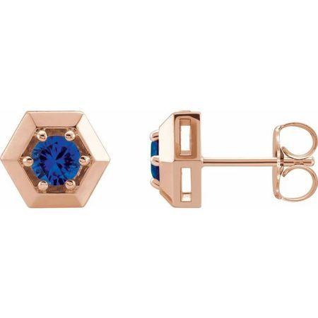 Created Sapphire Earrings in 14 Karat Rose Gold Chatham Lab-Created Genuine Sapphire Geometric Earrings