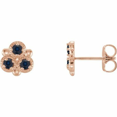 Created Sapphire Earrings in 14 Karat Rose Gold Chatham Lab-Created Genuine Sapphire Three-Stone Earrings