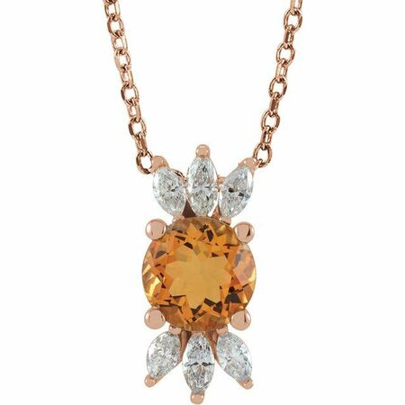 Golden Citrine Necklace in 14 Karat Rose Gold Citrine & 1/4 Carat Diamond 16-18