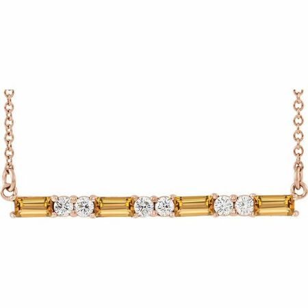Golden Citrine Necklace in 14 Karat Rose Gold Citrine & 1/5 Carat Diamond Bar 16-18