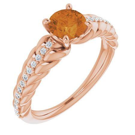 Golden Citrine Ring in 14 Karat Rose Gold Citrine & .125 Carat Diamond Ring