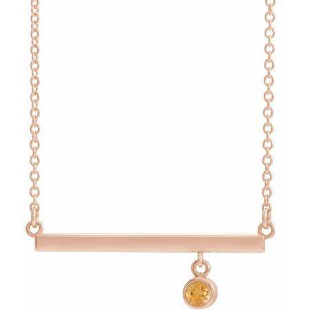 Golden Citrine Necklace in 14 Karat Rose Gold Citrine Bezel-Set 16