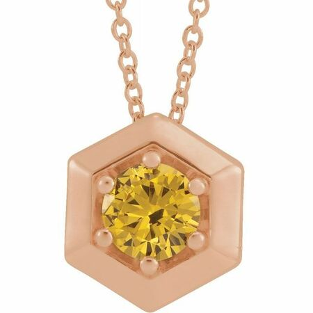 Golden Citrine Necklace in 14 Karat Rose Gold Citrine Geometric 16-18