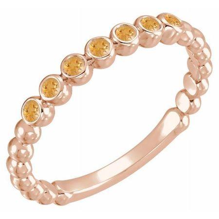 Golden Citrine Ring in 14 Karat Rose Gold Citrine Stackable Ring