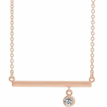 Natural Diamond Necklace in 14 Karat Rose Gold Diamond Bezel-Set 16
