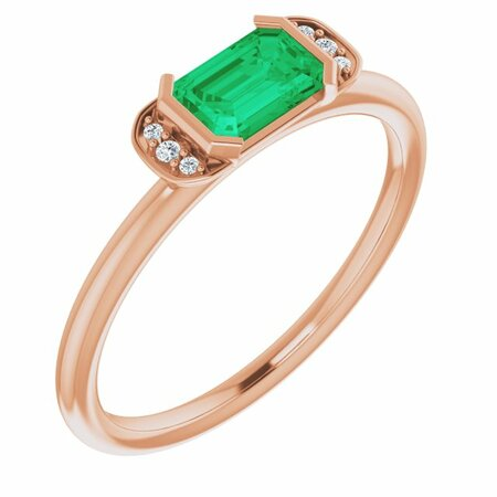 Genuine Emerald Ring in 14 Karat Rose Gold Emerald & .02 Carat Diamond Stackable Ring