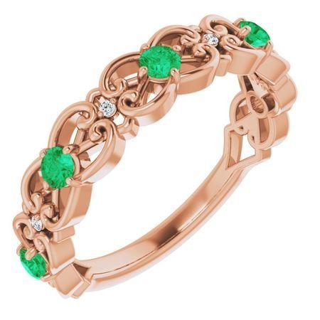 Genuine Emerald Ring in 14 Karat Rose Gold Emerald & .02 Carat Diamond Vintage-Inspired Scroll Ring