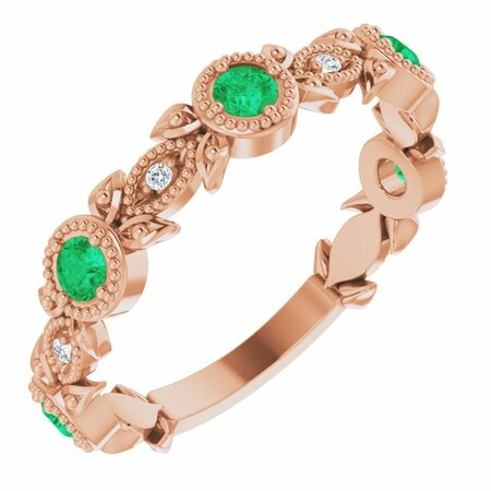 Genuine Emerald Ring in 14 Karat Rose Gold Emerald & .03 Carat Diamond Leaf Ring