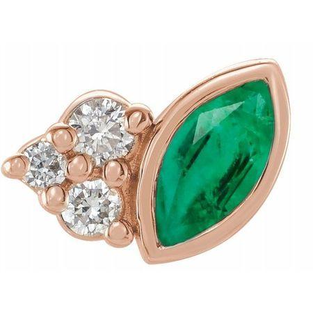 Genuine Emerald Earrings in 14 Karat Rose Gold Emerald & .03 Carat Diamond Right Earring