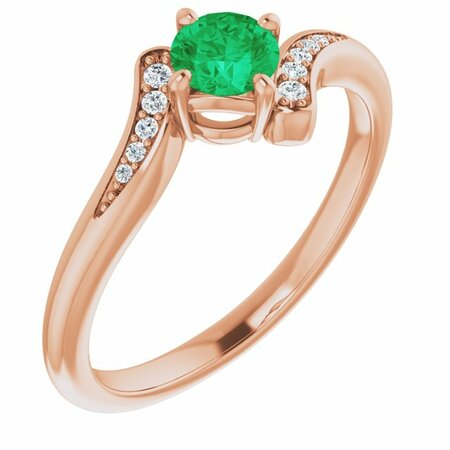 Genuine Emerald Ring in 14 Karat Rose Gold Emerald & .04 Carat Diamond Ring