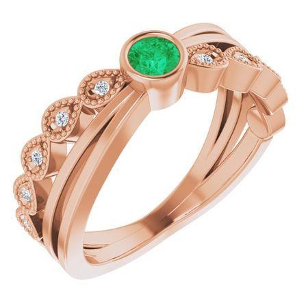 Genuine Emerald Ring in 14 Karat Rose Gold Emerald & .05 Carat Diamond Ring