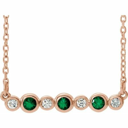 Genuine Emerald Necklace in 14 Karat Rose Gold Emerald & .08 Carat Diamond Bezel-Set Bar 16-18