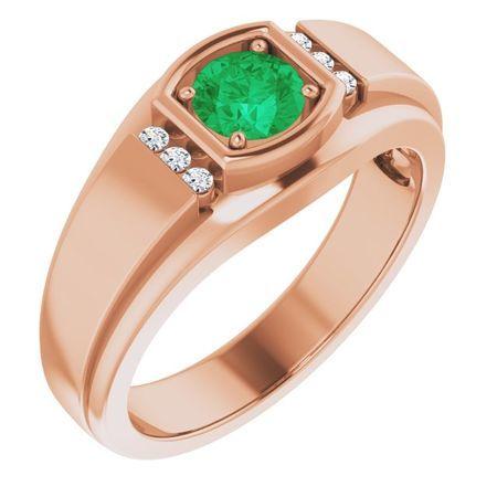 Genuine Emerald Ring in 14 Karat Rose Gold Emerald & .08 Carat Diamond Men's Ring