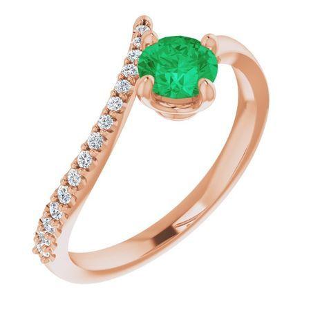 Genuine Emerald Ring in 14 Karat Rose Gold Emerald & 1/10 Carat Diamond Bypass Ring