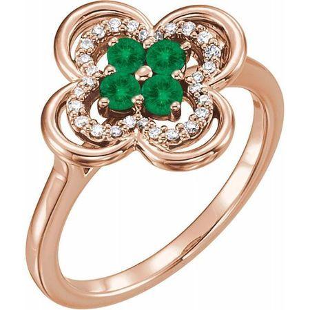 Genuine Emerald Ring in 14 Karat Rose Gold Emerald & 1/10 Carat Diamond Ring