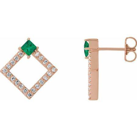 Genuine Emerald Earrings in 14 Karat Rose Gold Emerald & 1/3 Carat Diamond Earrings
