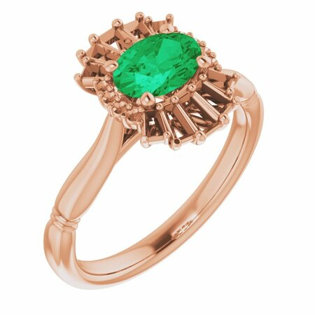 Genuine Emerald Ring in 14 Karat Rose Gold Emerald & 1/4 Carat Diamond Ring