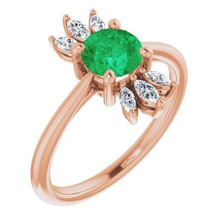 Genuine Emerald Ring in 14 Karat Rose Gold Emerald & 1/4 Carat Diamond Ring
