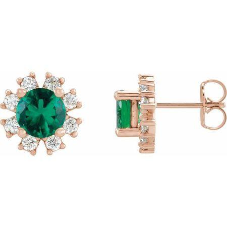 Genuine Emerald Earrings in 14 Karat Rose Gold Emerald & 1/5 Carat Diamond Earrings