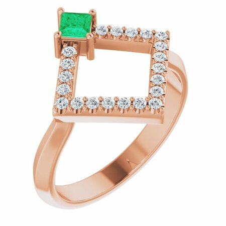 Genuine Emerald Ring in 14 Karat Rose Gold Emerald & 1/5 Carat Diamond Geometric Ring