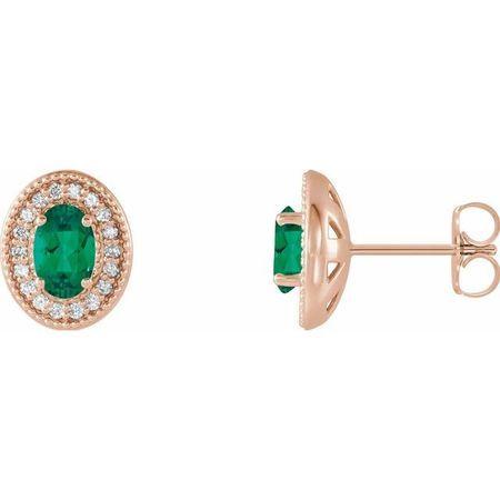 Genuine Emerald Earrings in 14 Karat Rose Gold Emerald & 1/5 Carat Diamond Halo-Style Earrings