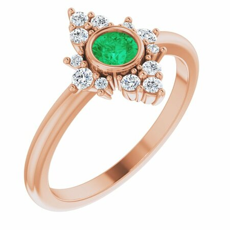 Genuine Emerald Ring in 14 Karat Rose Gold Emerald & 1/5 Carat Diamond Ring