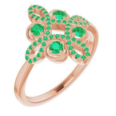 Genuine Emerald Ring in 14 Karat Rose Gold Emerald & 1/6 Carat Diamond Clover Ring