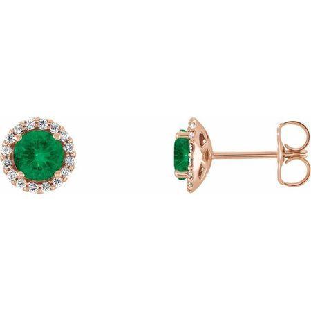 Genuine Emerald Earrings in 14 Karat Rose Gold Emerald & 1/6 Carat Diamond Earrings